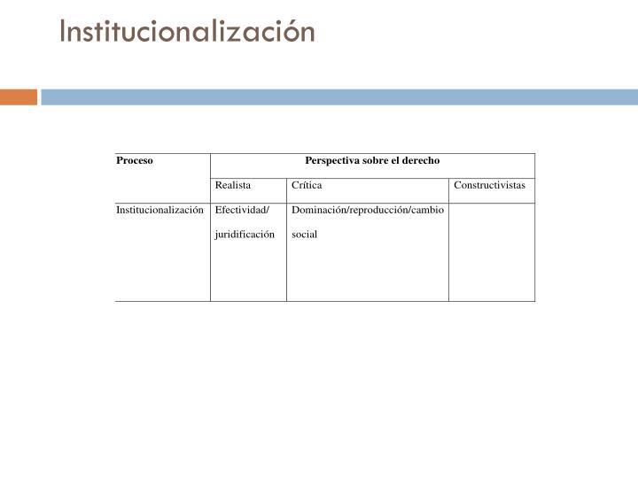 Institucionalizaci n