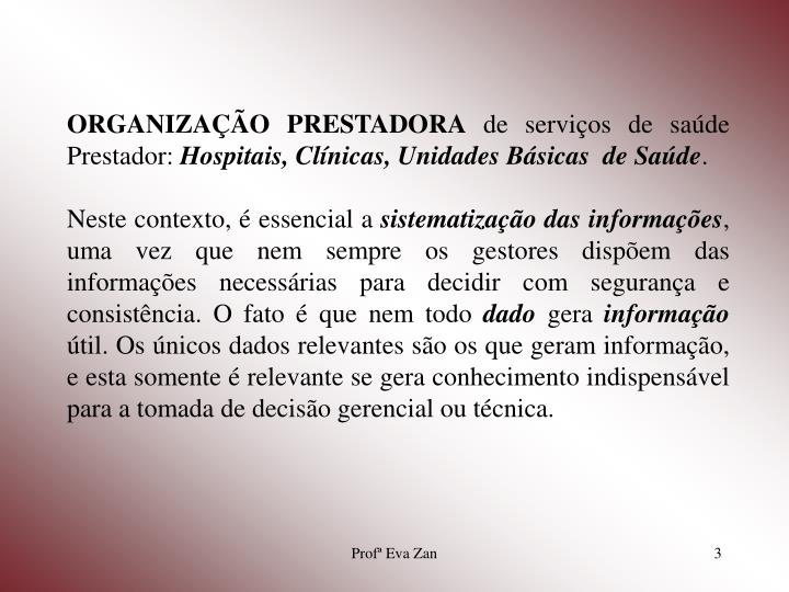ORGANIZAÇÃO PRESTADORA