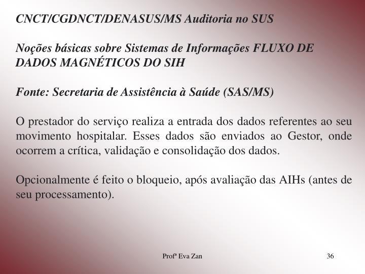 CNCT/CGDNCT/DENASUS/MS Auditoria no SUS
