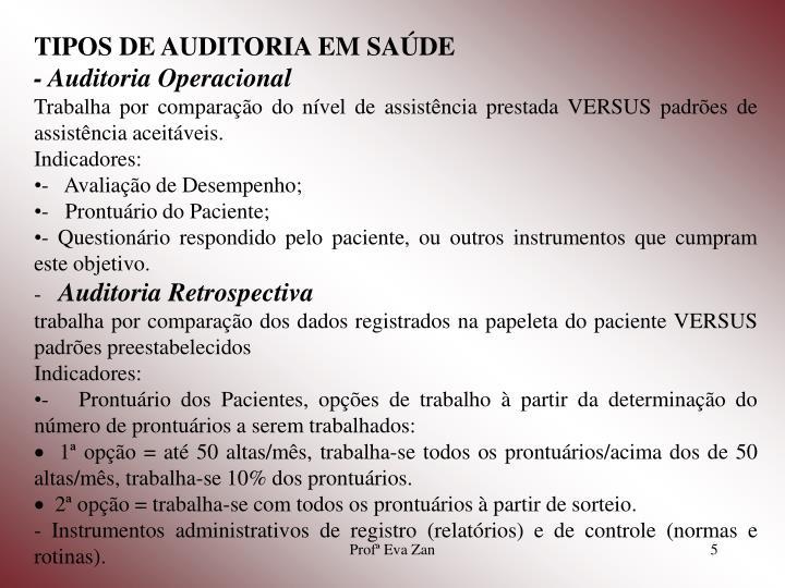 TIPOS DE AUDITORIA EM SAÚDE