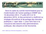 la politique gouvernementale de l open data