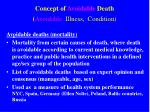concept of avoidable death avoidable illness condition