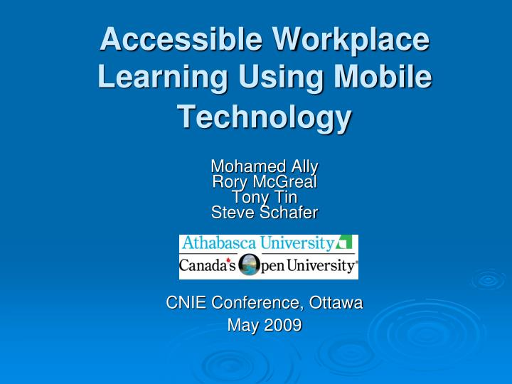 accessible workplace learning using mobile technology n.