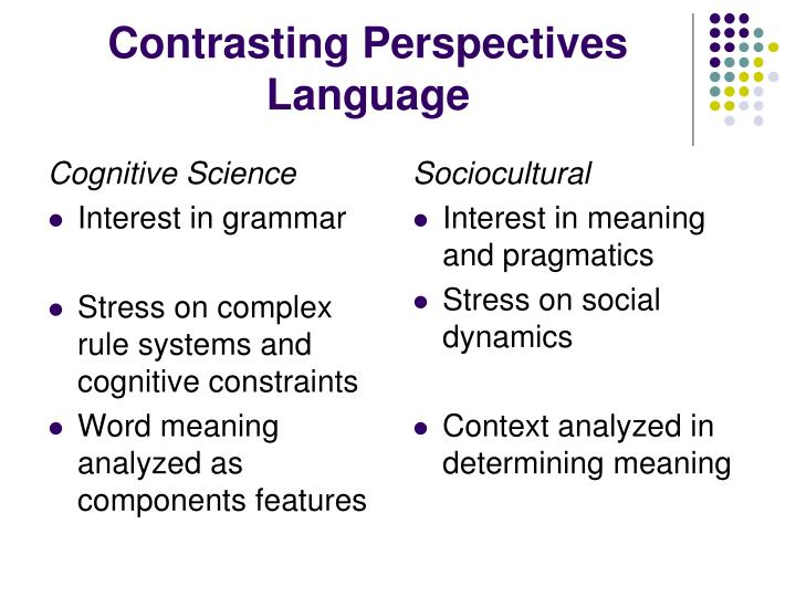 Contrasting Perspectives Language