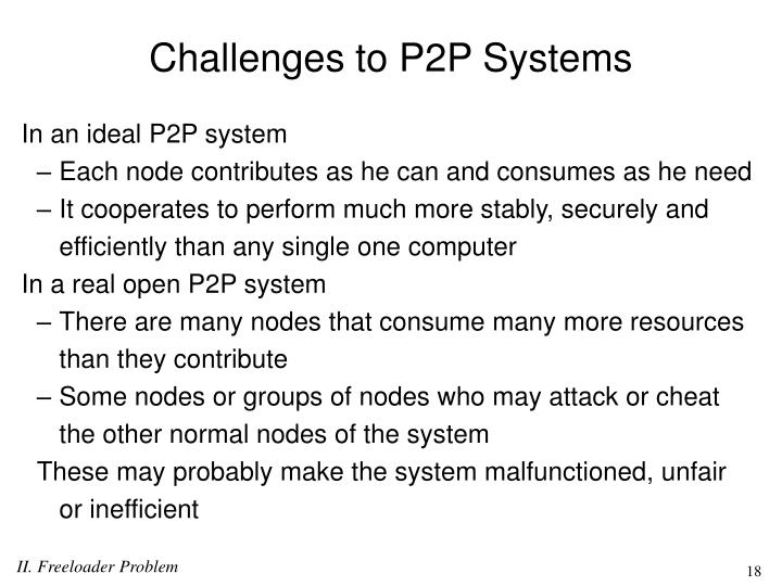 Challenges to P2P Systems
