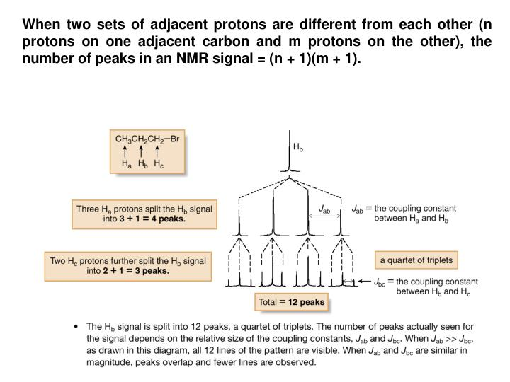 When two sets of adjacent protons are different from each other (n protons on one adjacent carbon and m protons on the other), the number of peaks in an NMR signal = (n + 1)(m + 1).
