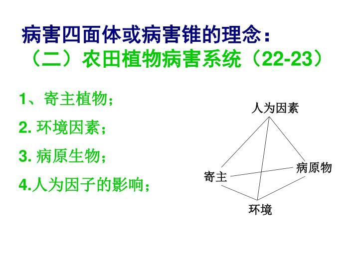 病害四面体或病害锥的理念