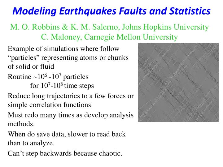 Modeling earthquakes faults and statistics