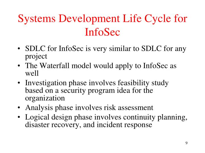 Systems Development Life Cycle for InfoSec