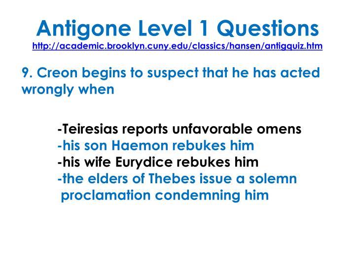 Antigone Level 1 Questions