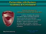 partnerships with business academia government