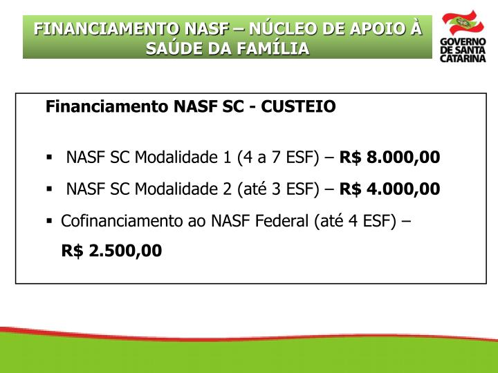 Financiamento NASF SC - CUSTEIO