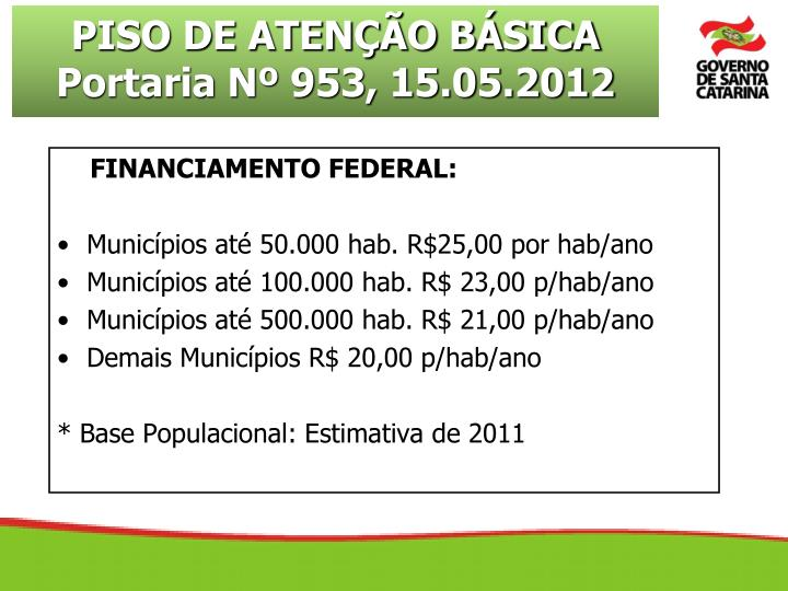 FINANCIAMENTO FEDERAL: