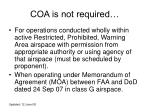 coa is not required