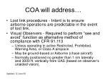 coa will address