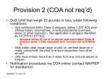 provision 2 coa not req d