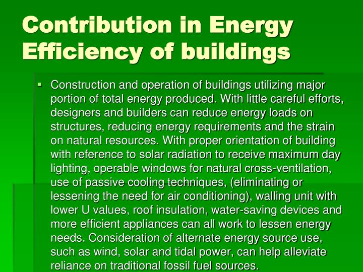 Contribution in Energy Efficiency of buildings