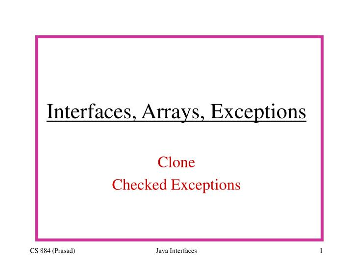 Interfaces arrays exceptions