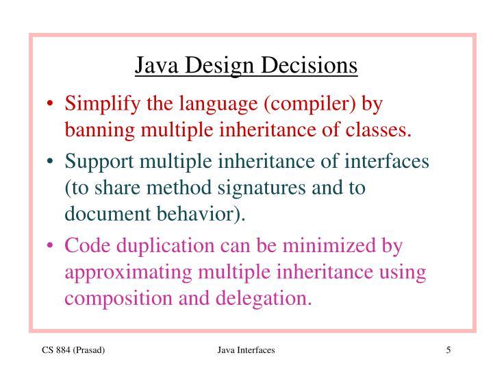 Java Design Decisions