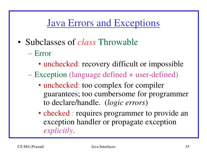 Java Errors and Exceptions