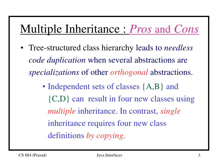 Multiple inheritance pros and cons