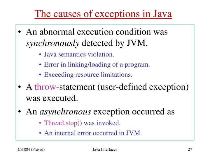 The causes of exceptions in Java
