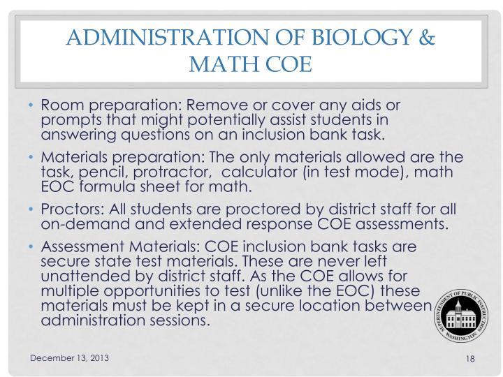 Administration of Biology & Math COE