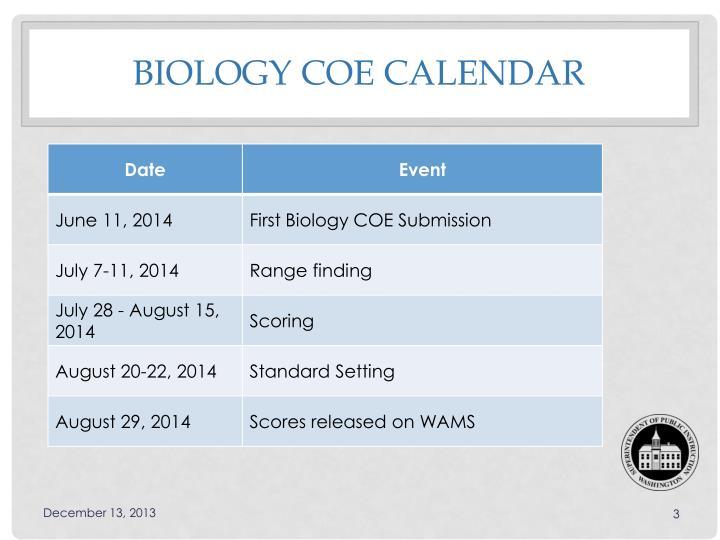 Biology coe calendar