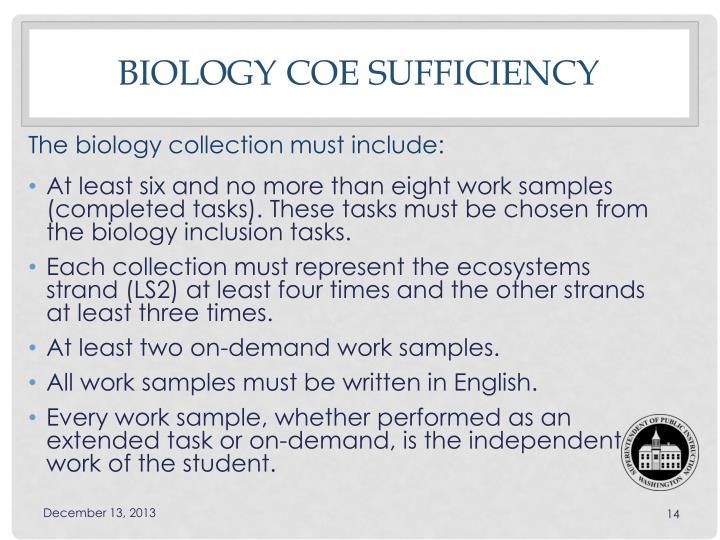 Biology COE sufficiency