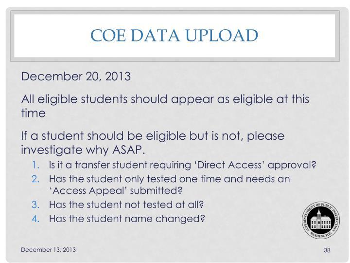 COE data upload