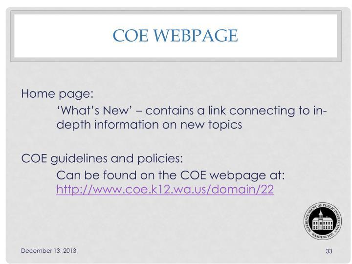 COE Webpage