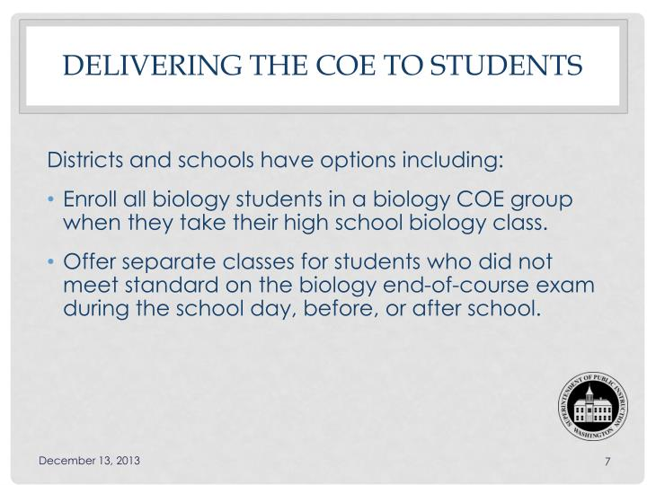 Delivering the COE to Students