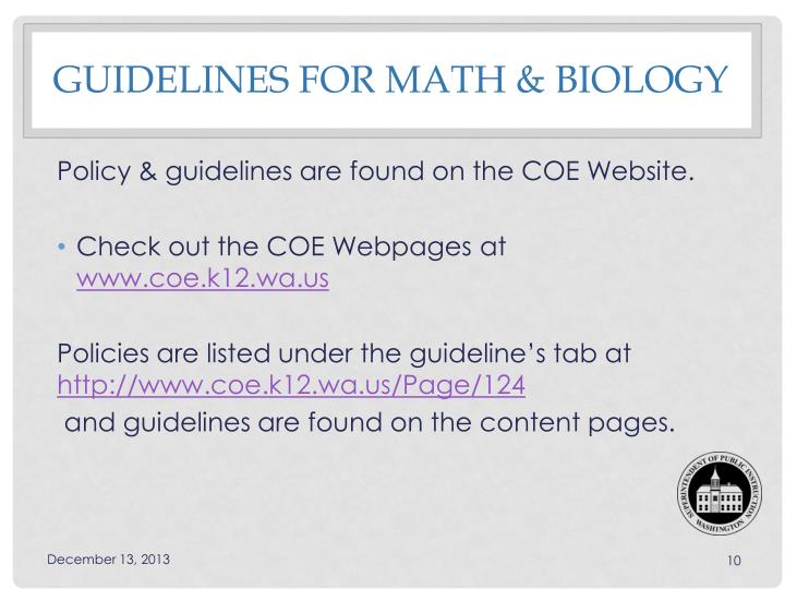 Guidelines for Math & biology