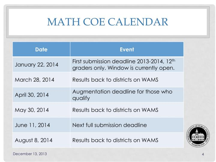 Math COE Calendar