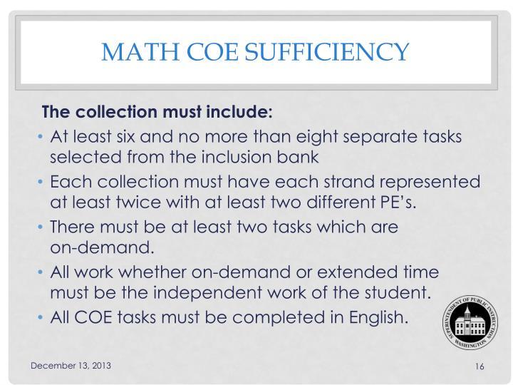 Math COE sufficiency