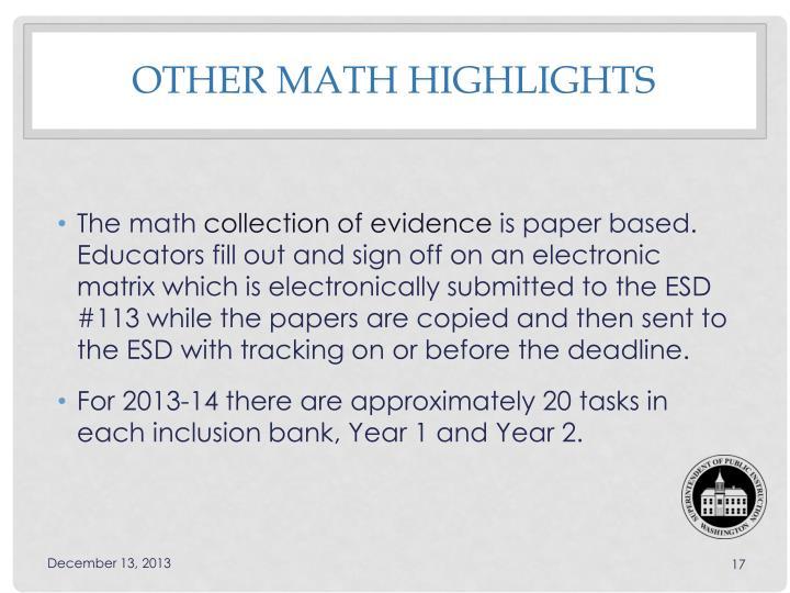 Other Math Highlights