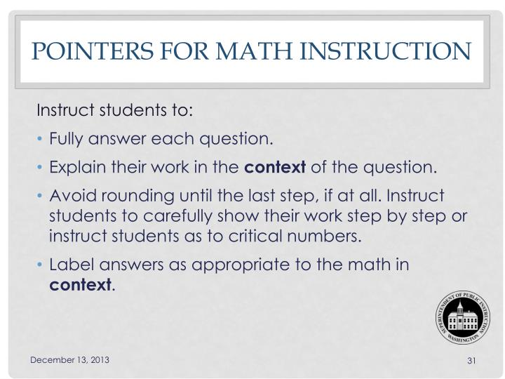 Pointers for Math instruction