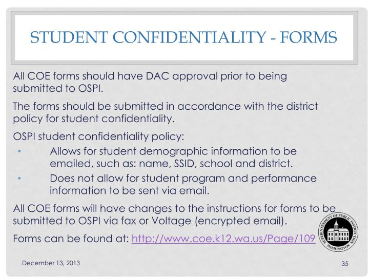 Student Confidentiality - Forms