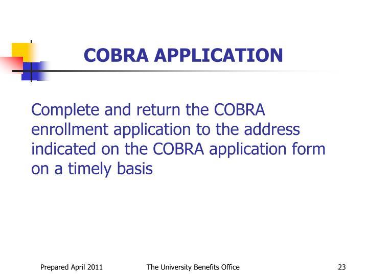 COBRA APPLICATION