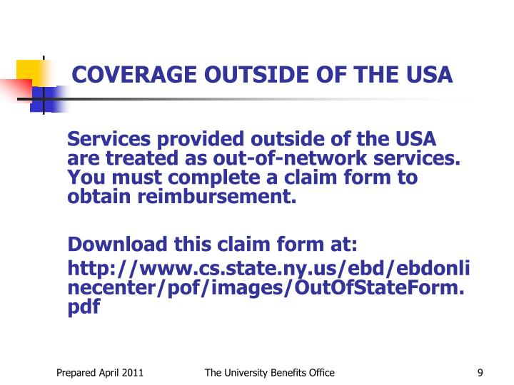 COVERAGE OUTSIDE OF THE USA