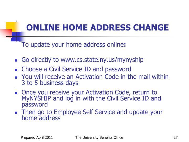 ONLINE HOME ADDRESS CHANGE
