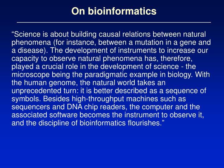 On bioinformatics