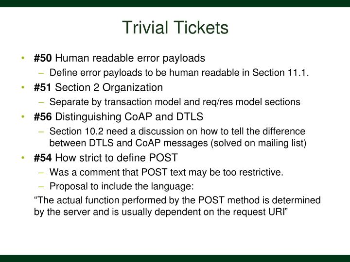 Trivial Tickets
