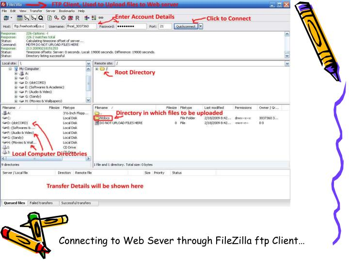 Connecting to Web Sever through FileZilla ftp Client…