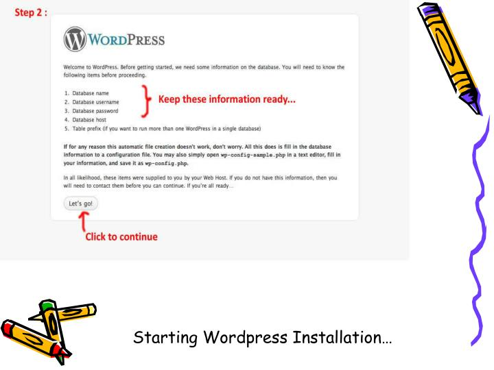 Starting Wordpress Installation…