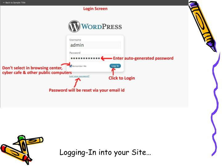 Logging-In into your Site…