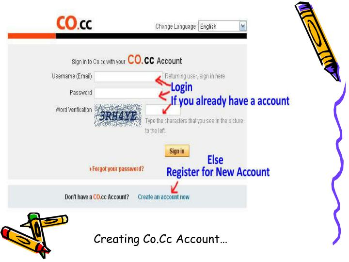 Creating Co.Cc Account…