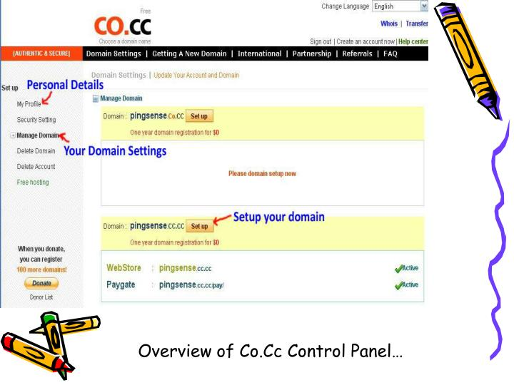 Overview of Co.Cc Control Panel…