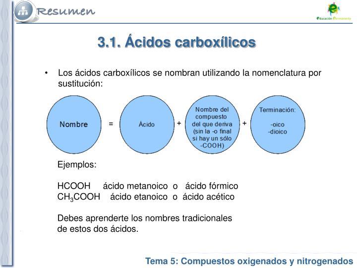 3.1. Ácidos carboxílicos