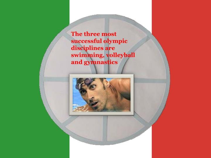 The three most successful olympic disciplines are swimming, volleyball and gymnastics